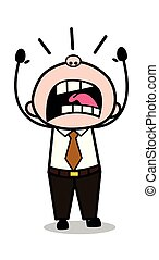 Screaming - Retro Cartoon Office old Boss Man Vector Illustration
