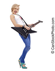 Screaming rock woman with guitar