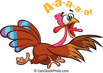 Screaming running cartoon turkey bird character. Vector illustration