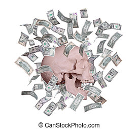 screaming Skull in rain of dollars