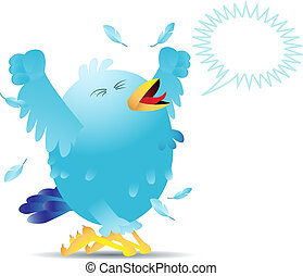 Screaming twitter bird - Blue twitter bird yelling and...