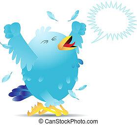 Screaming twitter bird - Blue twitter bird yelling and...