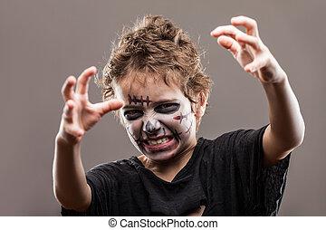 Screaming walking dead zobmie child boy