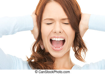 screaming woman - bright picture of screaming woman over...