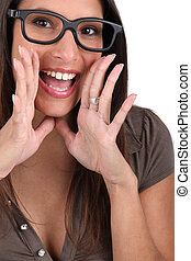 Screaming woman with glasses