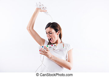 Screaming woman with power cables