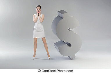 Screaming young businesswoman next to the dollar