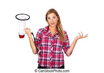 Screaming young woman holding megaphone and gesturing dont...