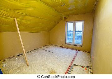 screed, szoba, épület, bevakol, szerkesztés, alatt, friss, üres