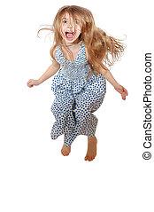 screeming, wenig, springende , m�dchen, glücklich