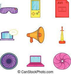 Screen adaptation icons set, cartoon style - Screen...