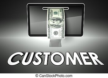 Screen and dollar bill, word Business, E-commerce