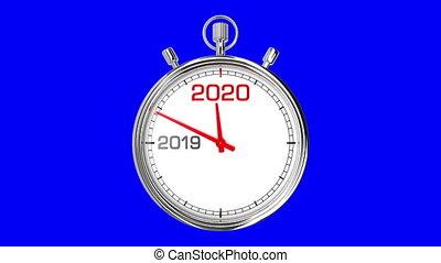 screen), année, 2020, nouveau, chronomètre, (blue