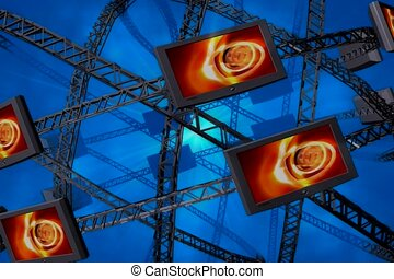 screen, beam, construct
