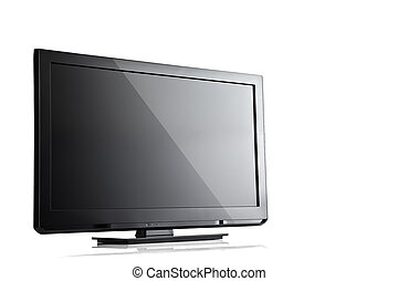 screen - close up view of nice black tv on white back