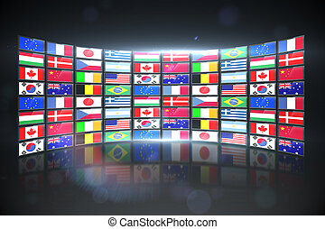 Digitally generated screen collage showing international flags