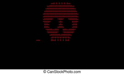 Screen created by computer virus, text skull and blinking...