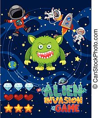 Screen design for game template with alien and astronaut in space