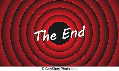 screen., inscripción, rojo, eps, conclusión, 10, vector, película, caricatura, ilustración, plano de fondo, fin, circles.
