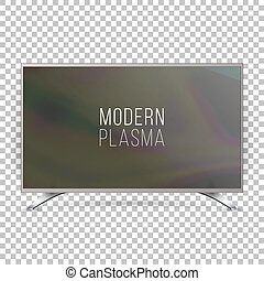 Screen Lcd Plasma Vector. Realistic Flat Smart TV. Curved Television Modern Blank On Checkered Background