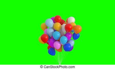 screen., lingers, animation., mouches, ballons, 3d, hd, 4k, 3840x2160, ultra, beau, vert, paquet, haut