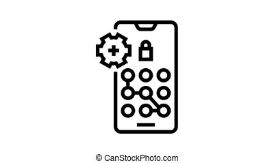 screen lock password animated black icon. screen lock password sign. isolated on white background