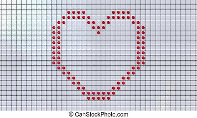 Screen made of big dots dispaying heart symbol and LOVE...