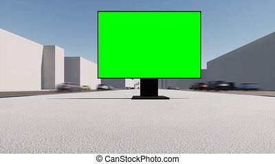 screen., mockup., vide, rue, bannière, design., panneau affichage, commercialisation, vert, ville