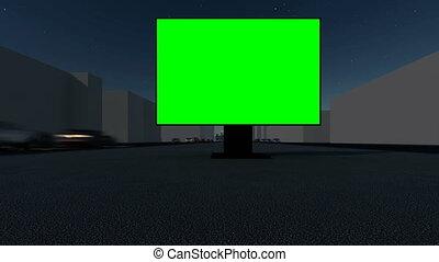 screen., mockup., vide, rue, bannière, design., panneau affichage, nuit, commercialisation, vert, ville