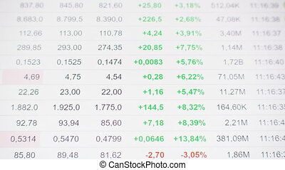 screen., moniteur, bourse, ticker., global, économique, crise, par, rouleau, index, forecast., analyser, decline.