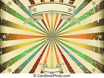 Screen multicolor vintage - A vintage horizontal poster with...