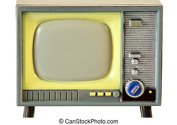screen of little retro plastic television isolated on white background