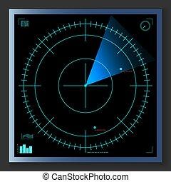 screen., radar, vecteur, illustration., eps10., bleu