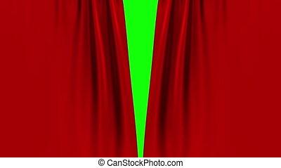screen., rideau, rouge vert, ouverture