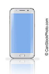 screen., ringa, blå, mobil
