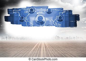 Screen showing international community