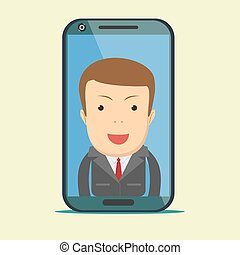 virtual assistant - businessman. Hi-tech flat design concept