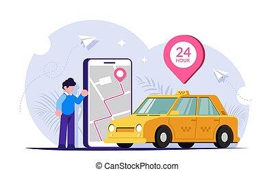 screen., téléphone, carte, voiture., vecteur, mobile, plat, via, taxi, appeler, gens, vert, illustration., ville, moderne, grand, app.