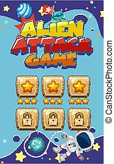 Screen template for alien attack game with astronaut flying in space background