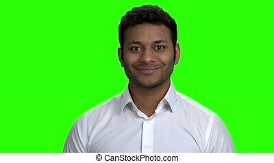 screen., vert, gai, homme affaires, indien