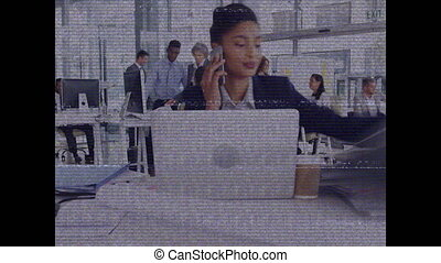 Screen with bands interference showing woman working