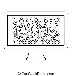 Screen with the scheme Technology concept icon outline black color vector illustration flat style image