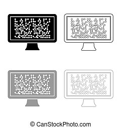 Screen with the scheme Technology concept icon outline set black grey color vector illustration flat style image
