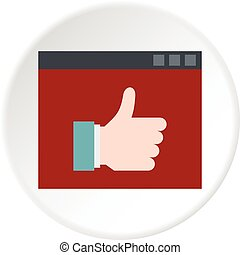 Screen with thumb up icon circle