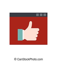 Screen with thumb up icon, flat style