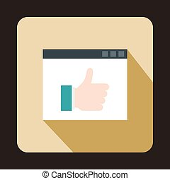 Screen with thumbs up sign icon, flat style