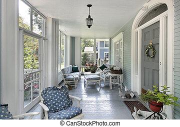 screened, in, veranda