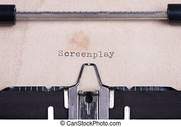 """""""screenplay"""", getypt, door, ouderwetse , typemachine"""