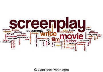 screenplay, woord, wolk