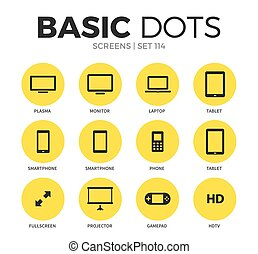 Screens flat icons vector set